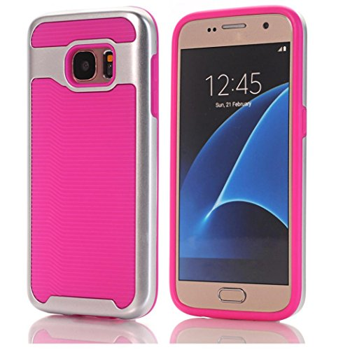 (Aobiny Mobile Phone Case Hard Bumper Hybrid Soft Rubber Skin Case Cell Phone Cover for Samsung Galaxy S7 (Hot Pink))