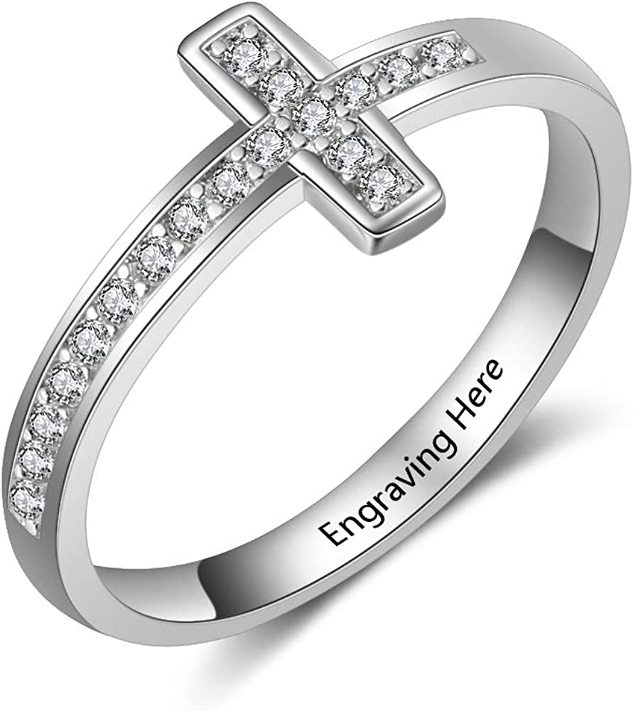 FenFang Personalized Cross Rings Promise Rings for Her Cubic Zirconia Ring for Mother Daughter Rings Anniversary Cross Rings for Women BFF Birthday Gifts for Her Women Gifts for Christmas