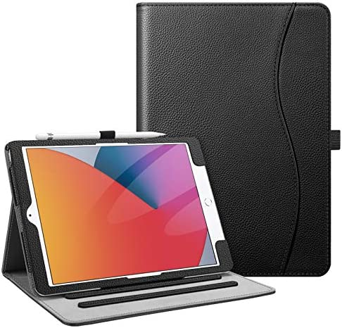 Fintie Case for New iPad 8th Gen (2020) / 7th Generation (2019) 10.2 Inch – [Corner Protection] Multi-Angle Viewing Folio Stand Cover with Pocket, Pencil Holder, Auto Wake/Sleep, Black