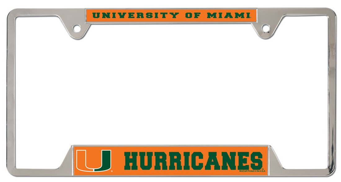 Wincraft University of Miami Hurricanes Metal License Plate Frame