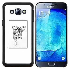 LECELL--Funda protectora / Cubierta / Piel For Samsung Galaxy A8 A8000 -- Mariposa mítico cartel blanco del arte --