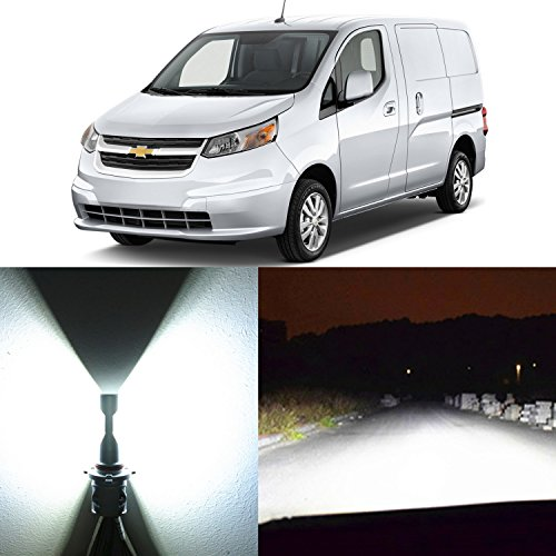 Alla Lighting 2pcs Xtremely Super Bright 8000Lm H13 9008 6000K Xenon White LED Headlight Bulbs for High Low Beam Headlamp Conversion Kits Replacement for 2015 2016 2017 Chevrolet Chevy City Express