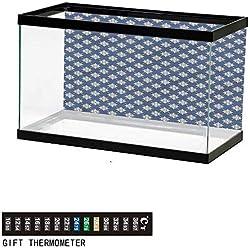 "bybyhome Fish Tank Backdrop Indigo,Greek House Tile Themed,Aquarium Background,72"" L X 24"" H(183x61cm) Thermometer Sticker"