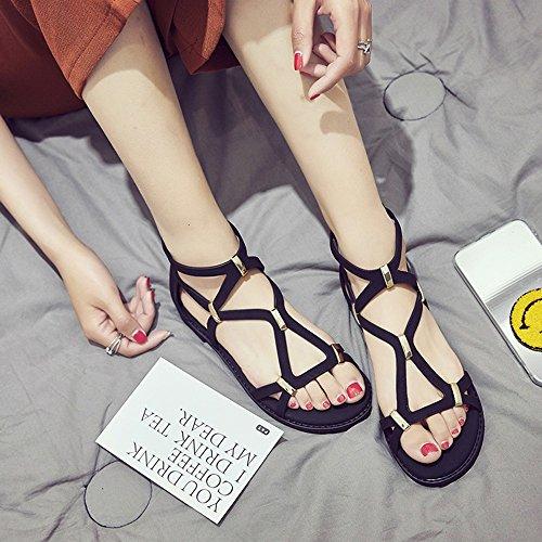 FEI Mädchen Sandalen Flache Weibliche Sandalen Studenten Sommer Mode Schuhe Weibliche Schuhe (Beige / Schwarz) Rutschfest ( Farbe : Schwarz , größe : EU39/UK6/CN39 ) Schwarz