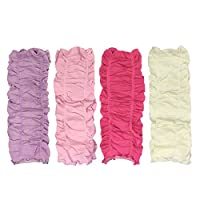 AllyDrew Gathered Ruching Baby Leg Warmers (Set of 4), Lavender, Pink, Hot Pi...