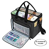 "Teamoy Knitting Bag, Yarn Tote Organizer with Inner Divider (Sewn to Bottom) for Crochet Hooks, Knitting Needles(Up to 14""), Project and Supplies, Black -No Accessories Included"