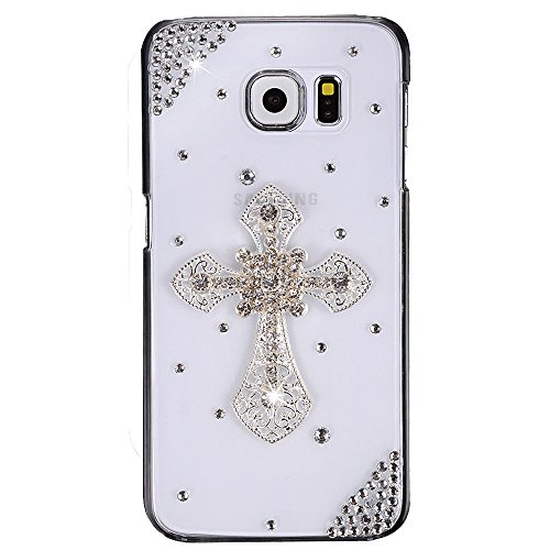 Galaxy Note 8 Case, STENES 3D Handmade Luxury Crystal Cross Sparkle Rhinestone Design Cover Bling Case for Samsung Galaxy Note 8 with Retro Bows Anti Dust Plug - Silver