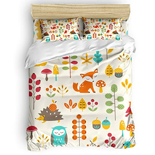 Pillowcase Wake Forest Printed - Arts Language Home Duvet Cover Set Full Size for Kids/Adults/Teens Cute Fox Owl and Hedgehog in The Autumn Forest Soft 4 Pcs Bedding Set with Duvet Cover, Fitted Sheet, Pillowcases