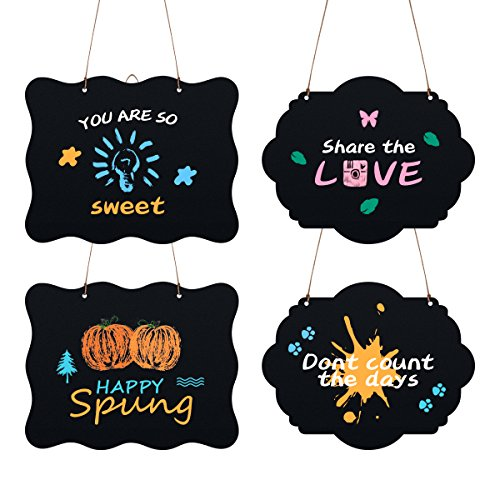 Hanging Chalkboard Sign, Double Sided - 4 Pack