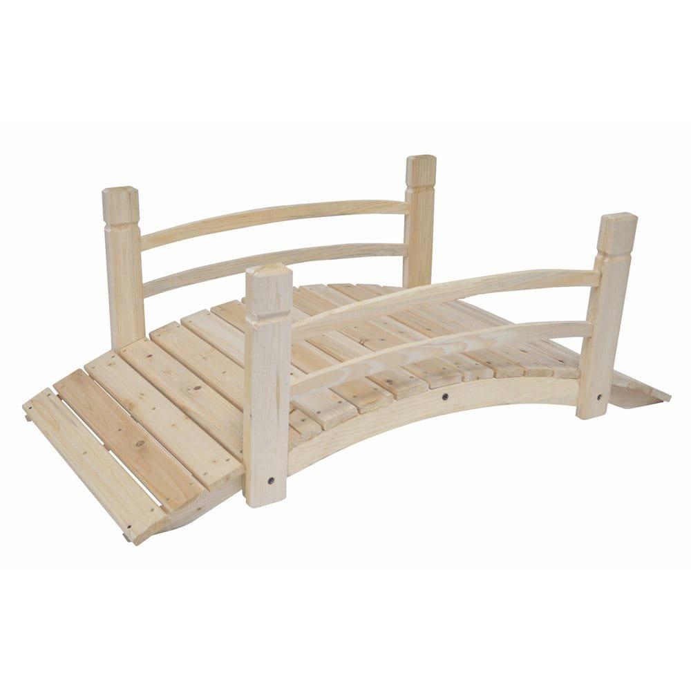 MD Group Garden Bridge Cedar Wood 4-ft Long Moisture-resistant With Rails Outdoor Lawn Decor