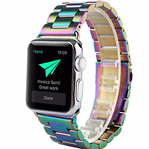 Compatible Apple Watch Band 42mm 38mm, Rainbow Stainless Steel Metal Watch Strap Replacement Bands for iWatch Apple Watch Series 3, Series 2, Series 1 S/M M/L (for Apple Watch 42mm)