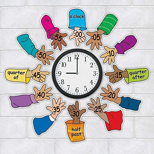 (Really Good Stuff Helping Hands Around The Clock - Help Students Connect Clock-Face Numbers to The Correct Time - Place Colorful, Easy-to-Read Clock Hands Around Class Clock to Teach Time Concepts)