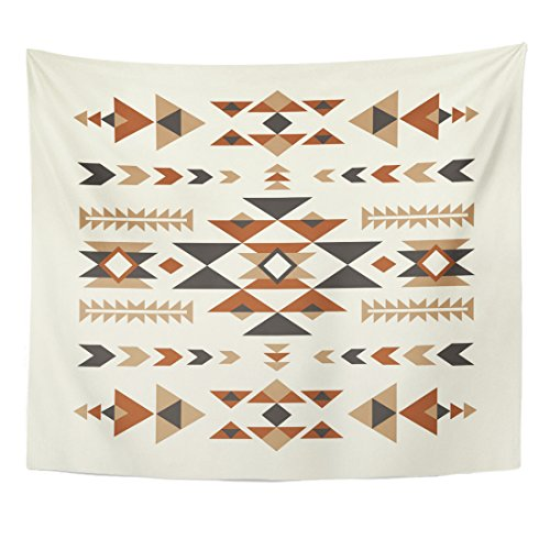TOMPOP Tapestry Brown Navajo Ethnic Pattern Abstract Peruvian Mexico Tribe Geometry Home Decor Wall Hanging for Living Room Bedroom Dorm 50x60 Inches