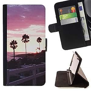 Momo Phone Case / Flip Funda de Cuero Case Cover - Árboles de mar de California Valla - Huawei Ascend P8 (Not for P8 Lite)