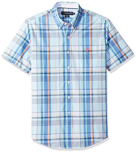 (U.S. Polo Assn. Men's Short Sleeve Classic Fit Plaid Shirt, Blue sail, S)