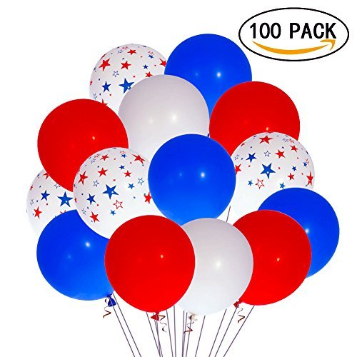FunsLane Party Decorations Latex Balloons, 12 Inch 100 Pcs Party Balloons for Christmas Birthday Party Supplies and Any Memorial Day Celebration Party -