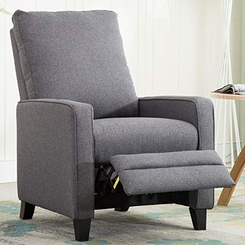 ANJ Pushback Recliner, Manual Recliner Chair for Living Room Bedroom, Grey