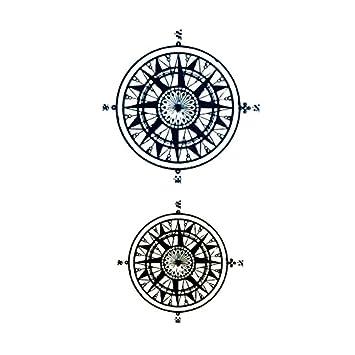 Oottati Tatuajes Temporales Cuello Brújula (Juego De 2): Amazon.es: Belleza