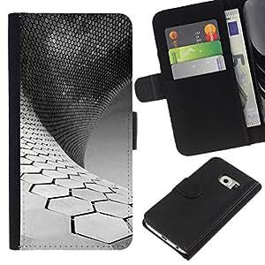 All Phone Most Case / Oferta Especial Cáscara Funda de cuero Monedero Cubierta de proteccion Caso / Wallet Case for Samsung Galaxy S6 EDGE // Science White Black Minimalist