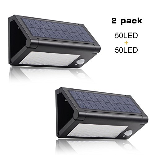 Binval Solar Motion Sensor Wall Lights, 50 LED Foldable Waterproof Wireless, Perfect for Outdoor, Patio, Deck, Yard, Garden, Fence, Driveaway(2-pack).