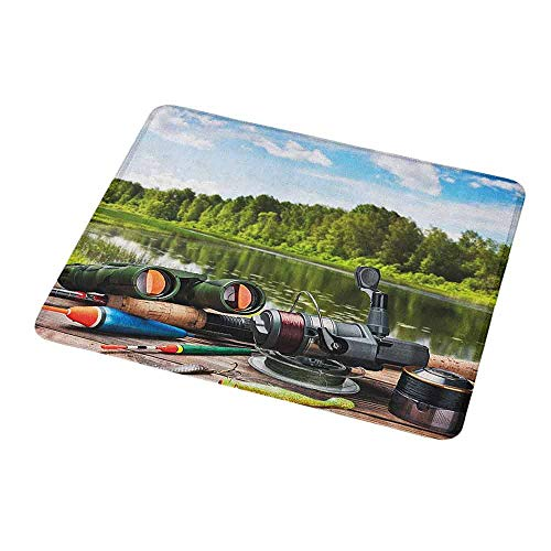 Natural Rubber Mouse Pad Hunting,Fishing Tackle on a Pontoon Lake in The Woods Trees and Greenery Freshwater Hobby,Standard Size Rectangle Non-Slip Rubber Mousepad - Tackle Atomic