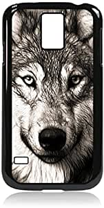 Grey Wolf - Case for the Galaxy S5 i9600- Hard Black Plastic Snap On Case with Soft Black Rubber lining