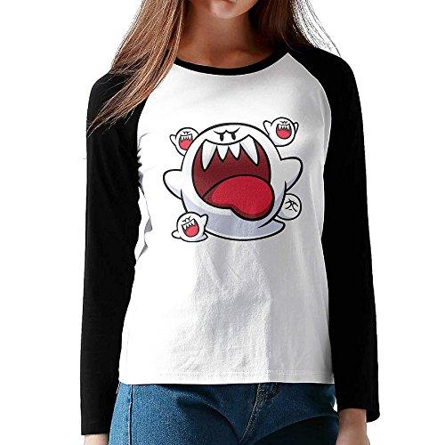 [Ahey Lady's Raglan Big Boo Artwork Fitted Tshirt Black M] (Boo Fitted T-shirt)