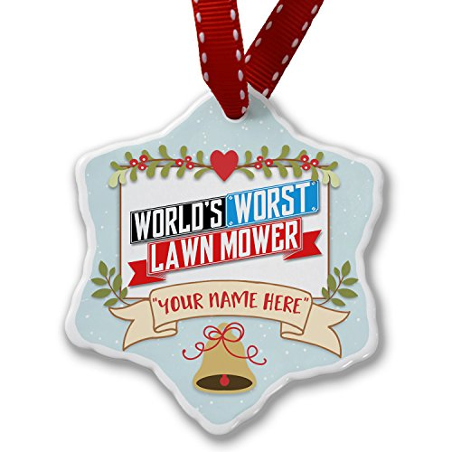 Add Your Own Custom Name, Funny Worlds worst Lawn Mower Christmas Ornament NEONBLOND