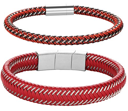 FIBO STEEL 2-3PCS Stainless Steel Braided Leather Bracelet for Men Women Wrist Cuff Bracelet 7.5-8.5 inches (G: red 2 pcs) -
