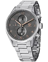 Carrera Chronograph Stainless Steel Case and Bracelet Gray Tone Dial Date Display