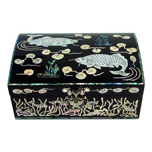 Mother of Pearl Inlay Koi Fish Design Lacquer Wooden Black Mirrored Mens Jewelry Trinket Keepsake Treasure Gift Box Case Pirate Chest Organizer