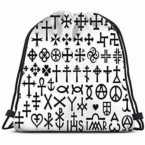 heraldic crosses christian monograms with additions religion cross signs Lightweight Drawstring Bag Sport Gym Sack Bag Backpack 17X14 Inch