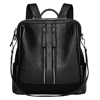 S-ZONE Lightweight Women Genuine Leather Backpack Casual Shoulder Bag Purse Medium