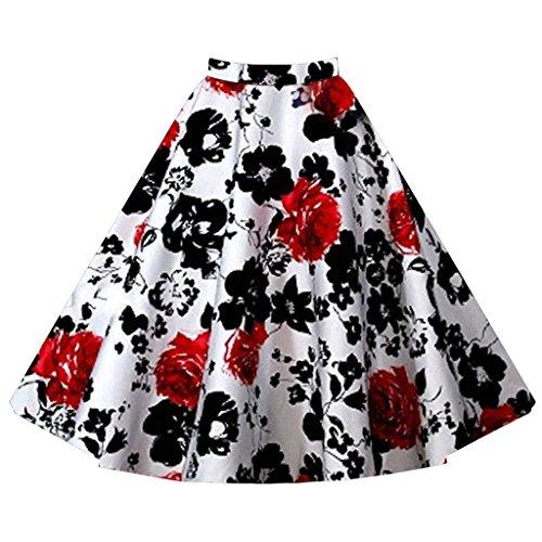hibote Damen Retro Blumendruck Midirocke Vintage Tupfen Formal Swing Rock White & Red L