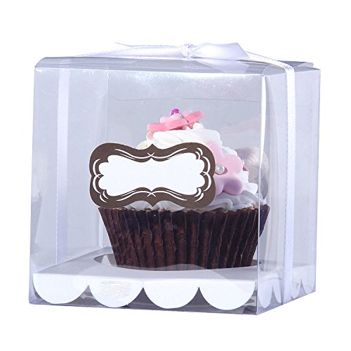 12pcs/Pack 9 * 9 * 9cm PVC Transparent Cupcake Box Clear Cake Box with Sticker and Insert Wedding Cupcake Box Mulit Colors (White)