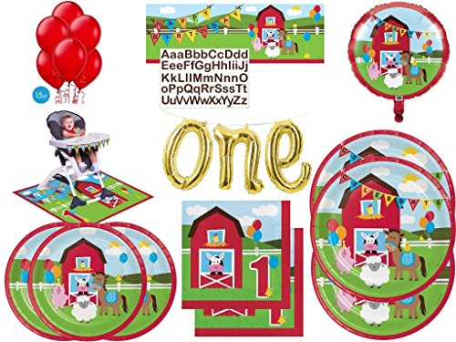 1st Birthday Farm House Animals Delxue Entertaining Kit Includes Tableware and Decorations (102 Pcs)