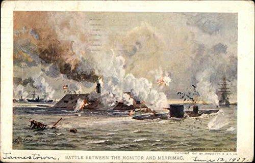 (Battle Between The Monitor and Merrimac by Richard Rummell Civil War Original Vintage Postcard)