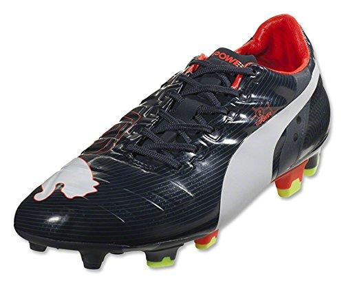 PUMA Men's evoPOWER 2 Firm Ground Soccer Shoe,Ombre Blue/White/Fluorescent Peach,10.5 M US