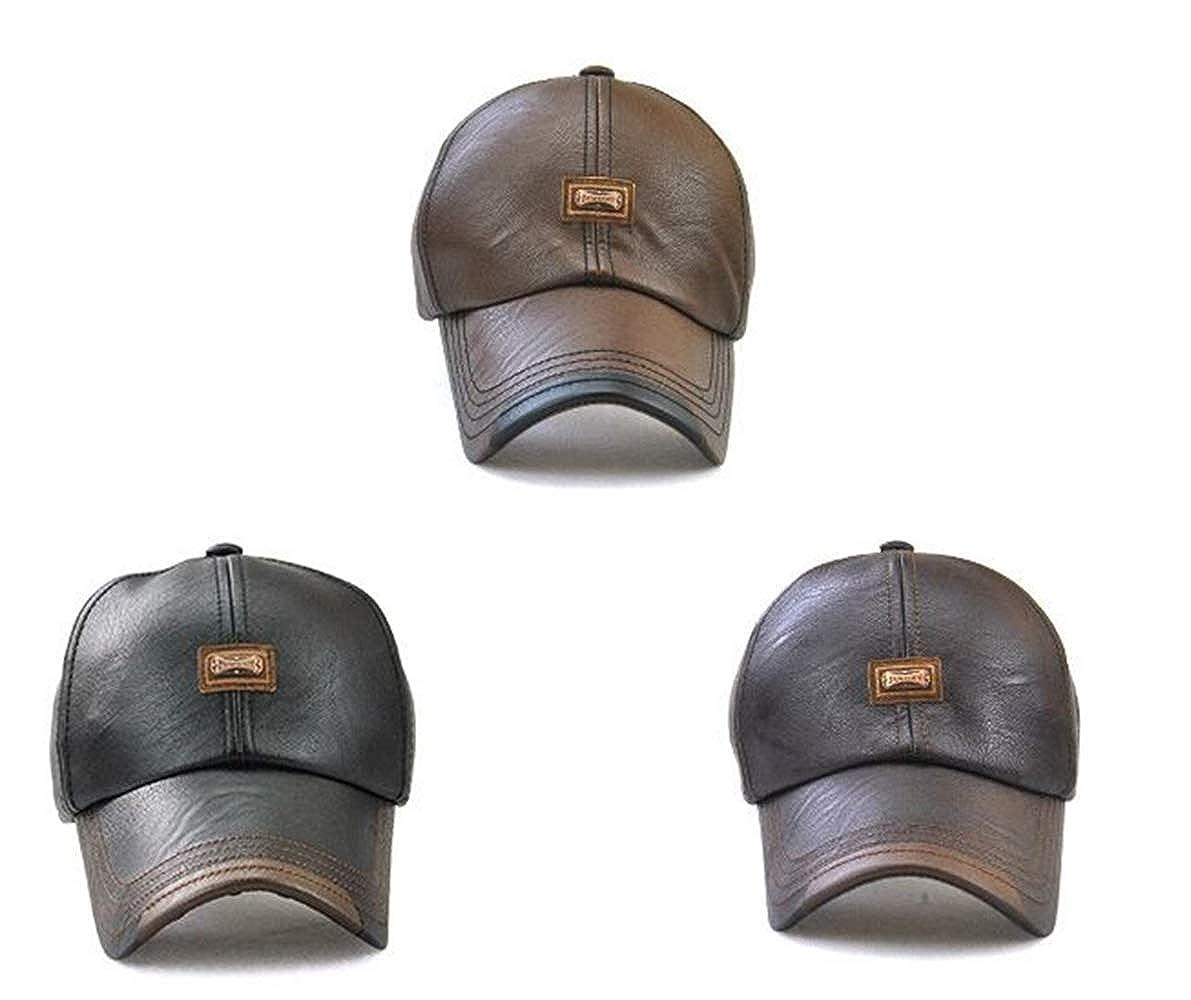 466fe4529f91d1 PU Leder Baseball Cap Basecap Herren Baseballkappe Outdoor Winter  Baseballmütze (Braun): Amazon.de: Bekleidung