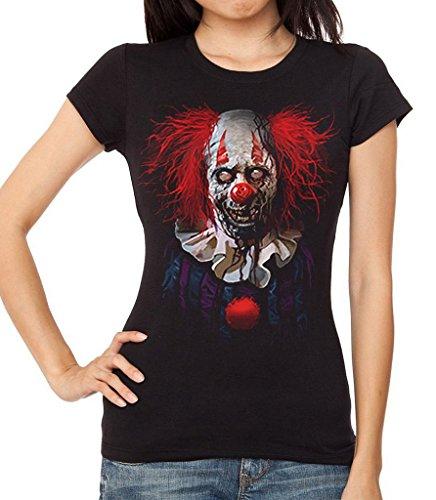 Interstate Apparel Inc Junior's Zombie Clown Black T-Shirt 2X-Large Black ()