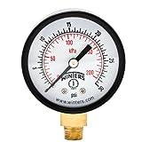 "Winters PEM Series Steel Dual Scale Economical All Purpose Pressure Gauge with Brass Internals, 0-30 psi/kpa, 2"" Dial Display, -3-2-3% Accuracy, 1/8"" NPT Bottom Mount"