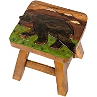 Bear in Mountains Design Hand Carved Acacia Hardwood Decorative Short Stool