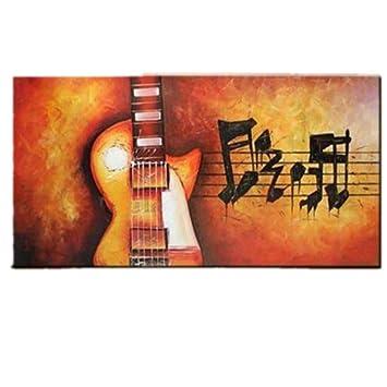 OME&MEI Pintado A Mano Abstracto De La Guitarra Pinturas Al Óleo Sobre Lienzo Notas De La ...