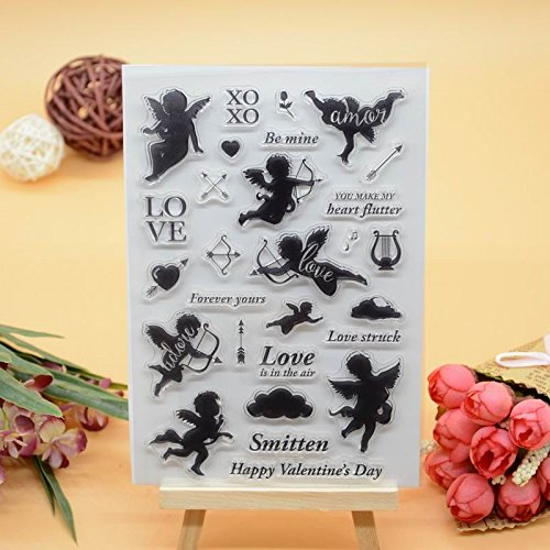 Welcome to Joyful Home 1pc Love Happy Valentine's Day Design Rubber Clear Stamp for Card Making Decoration and Scrapbooking (6) ()