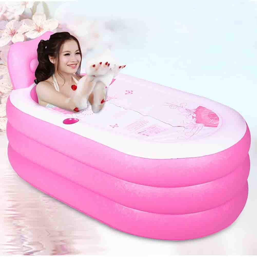 Bathtub PVC Inflatable Body Sauna Bath Family Bathroom Shower Bucket Outdoor Baby Swimming Pool Pink Electric Pump