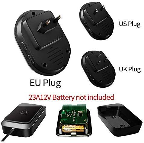 ワイヤレスドアベル、防水LEDライト1 2ボタン1 2レシーバー300MリモートホームインテリジェントドアベルチャイムUS EU UKプラグ