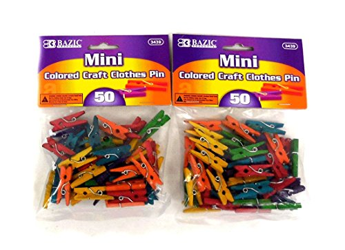 BAZIC Mini Colored Clothespin, 50 Per Pack, total 100