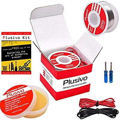 Solder Wire and Rosin Paste Kit - 0.6mm Active Tin Lead Solder Wire and Rosin Paste Flux for PCB Soldering from Plusivo