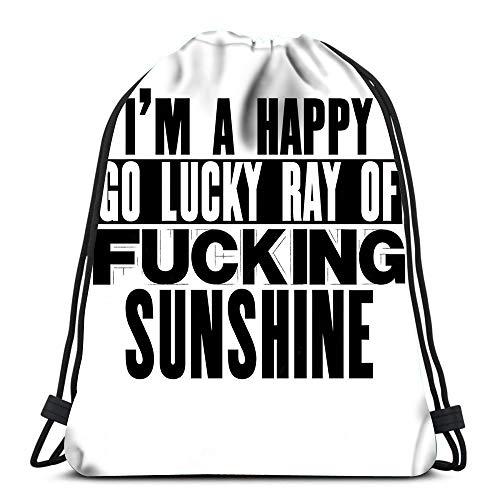 Randell Gym Drawstring Backpack Sport Bag I Am Happy Go Lucky Ray of Fucking Sunshine Lightweight Shoulder Bags Travel College Rucksack for Women Men