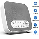 White Noise Machine Sound Machine Sleep Therapy with 7 Natural Soothing Sounds - USB Charger, Adjustable Volume Headphone Jack Auto-Off Timer Portable for Home Office Travel for Sleeping & Relaxation